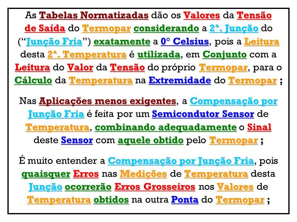 Tabelas NormatizadasValoresTensão As Tabelas Normatizadas dão os Valores da Tensão de SaídaTermopar considerando2ª. Junção de Saída do Termopar consid