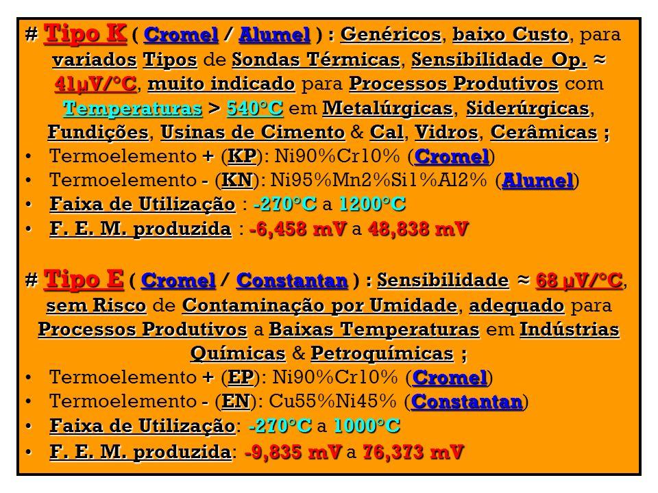 # Tipo K Cromel/Alumel:Genéricosbaixo Custo # Tipo K ( Cromel / Alumel ) : Genéricos, baixo Custo, para variadosTiposSondas TérmicasSensibilidade Op.