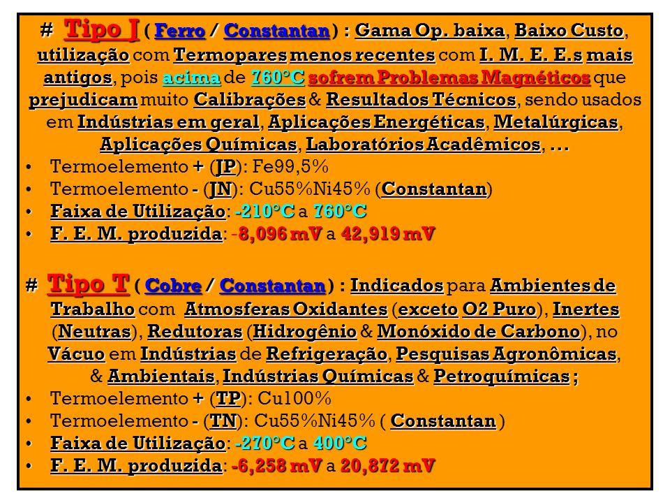 # Tipo J Ferro / Constantan: Gama Op. baixaBaixo Custo # Tipo J ( Ferro / Constantan ) : Gama Op. baixa, Baixo Custo, utilizaçãoTermoparesmenos recent