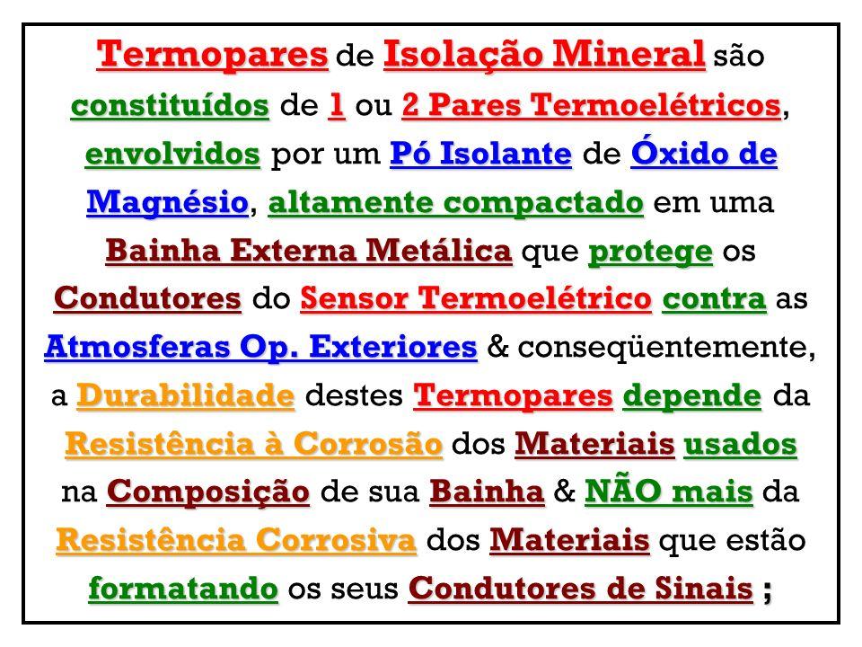 TermoparesIsolação Mineral Termopares de Isolação Mineral são constituídos12 Pares Termoelétricos constituídos de 1 ou 2 Pares Termoelétricos, envolvi