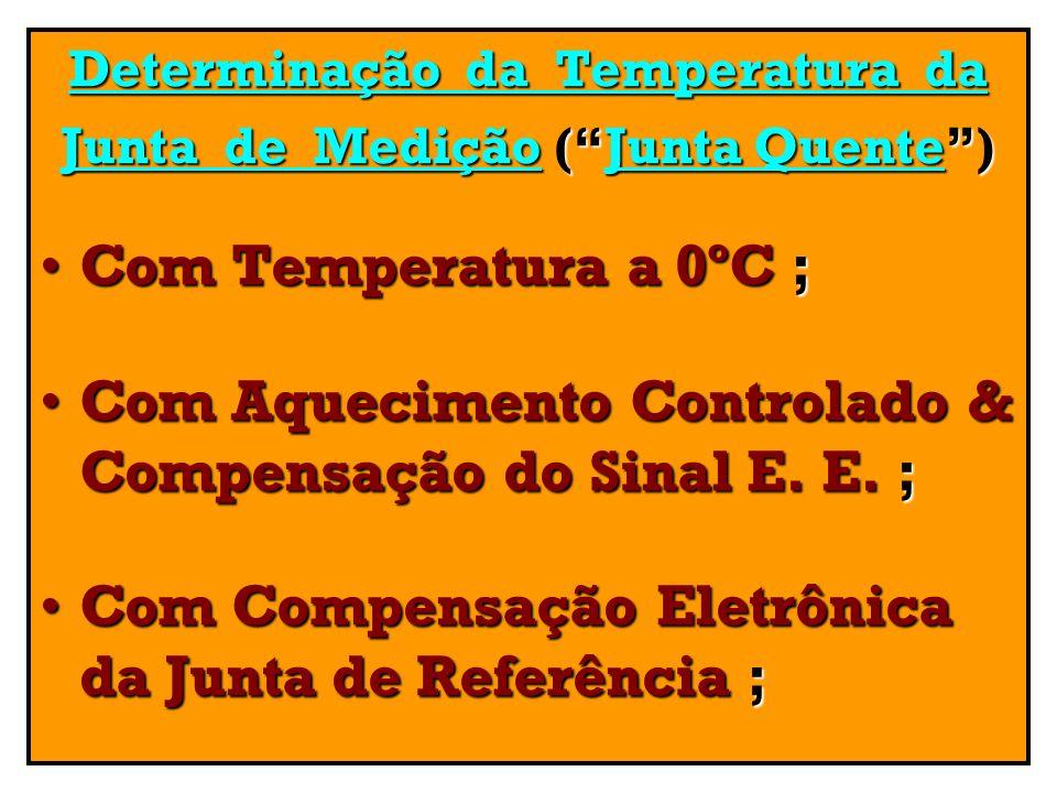 Determinação da Temperatura da Junta de Medição (Junta Quente) Com Temperatura a 0ºC ;Com Temperatura a 0ºC ; Com Aquecimento Controlado & Compensação