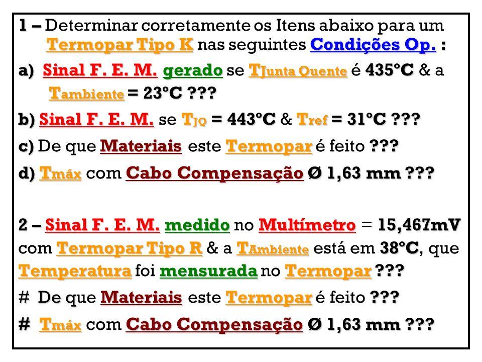 1 – Termopar Tipo KCondições Op.: 1 – Determinar corretamente os Itens abaixo para um Termopar Tipo K nas seguintes Condições Op. : a) Sinal F. E. M.g