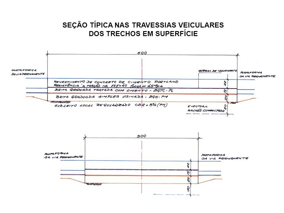 SEÇÃO TÍPICA NAS TRAVESSIAS VEICULARES DOS TRECHOS EM SUPERFÍCIE