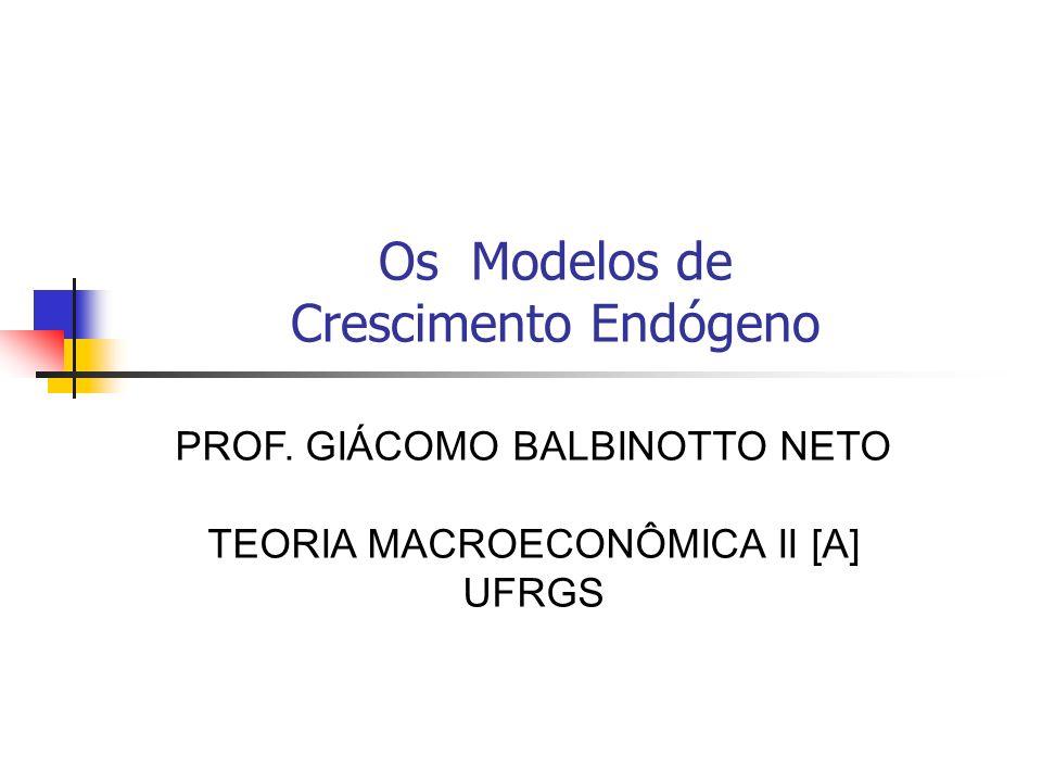 Os Modelos de Crescimento Endógeno PROF. GIÁCOMO BALBINOTTO NETO TEORIA MACROECONÔMICA II [A] UFRGS