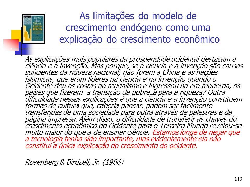 109 Resumo O grande feito intelectual de Romer foi separar parcialmente os retornos privados dos retornos sociais.