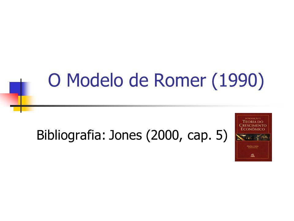 12 Os Elementos Básicos do Modelo de Romer (1990) O modelo de Romer (1990) torna endógeno o progresso tecnológico ao introduzir a busca por novas idéias por pesquisadores interessados em lucrar a partir de suas invenções.