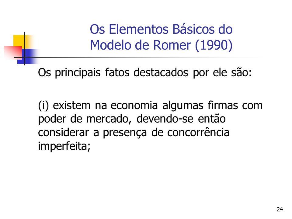 23 Os Elementos Básicos do Modelo de Romer (1990) Segundo Aghion e Howitt (1998,p.1 e p.7), o objetivo da teoria do crescimento endógeno seria o de buscar um melhor entendimento da relação entre o conhecimento tecnológico e as várias características estruturais da economia e da sociedade e de sua interação e que tem como resultado o crescimento econômico.