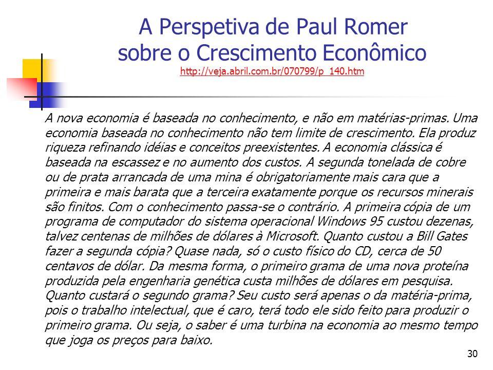 29 A Perspetiva de Paul Romer sobre o Crescimento Econômico Ingredientes Capital Intelectual Capital Humano Capital Financeiro Recipientes Novas idéias Empresários Redes Resultados Produtividade Prosperidade Crescimento