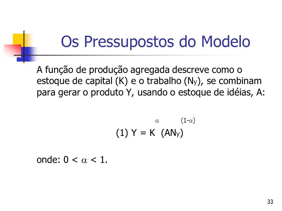 32 Os Pressupostos do Modelo A função de produção têm retornos constantes de escala com relação ao capital físico (K) e ao trabalho (N y ); Quando assumimos que as idéias são também um importante insumo na produção, a função de produção também irá exibir retornos constantes de escala (com respeito a estes três insumos).