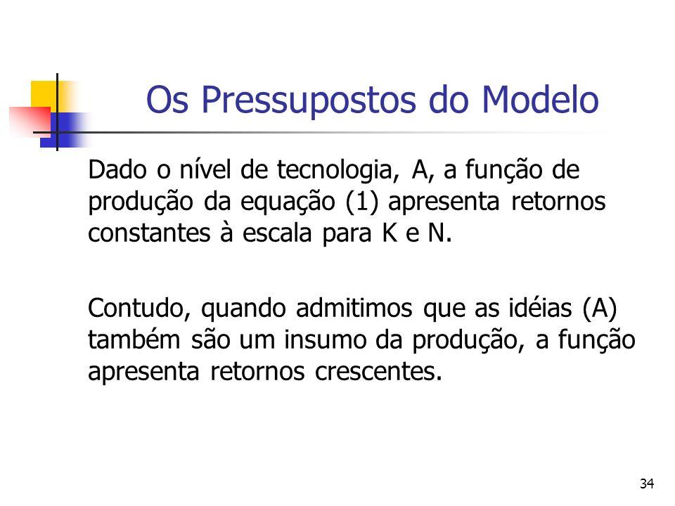33 Os Pressupostos do Modelo A função de produção agregada descreve como o estoque de capital (K) e o trabalho (N y ), se combinam para gerar o produto Y, usando o estoque de idéias, A: (1- ) (1) Y = K (AN y ) onde: 0 < < 1.