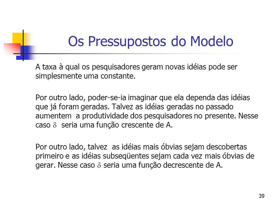 38 Os Pressupostos do Modelo A equação-chave no modelo de Romer (1986) é aquela que descreve o progresso tecnológico.