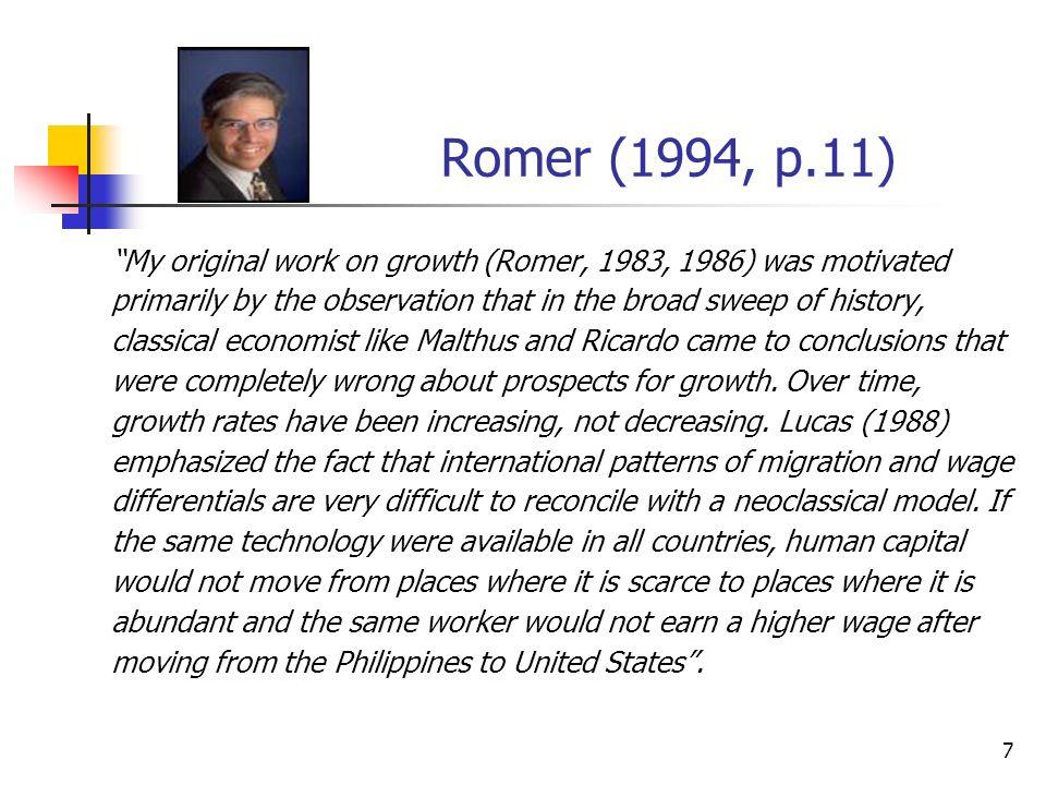 57 A trajetória de crescimento equilibrado e suas implicações econômicas / (1- ) y*(t) = [s K /(n+ g a +d)] [(1-s r ) ( s r /g a )] N(t) (11) 1- economias que investem mais em capital serão mais ricas; 2- quanto mais pesquisadores houver, menor será o número de trabalhadores ligados na produção; contudo, quanto mais pesquisadores houver, maior o número de idéias, o que aumenta a produtividade da economia.
