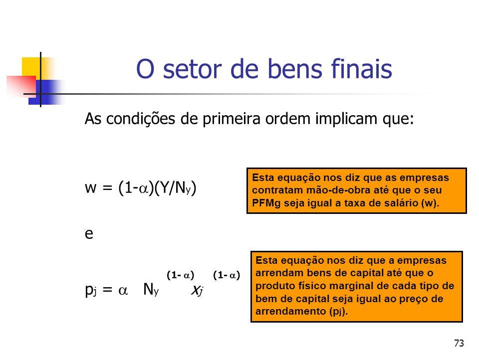 72 A equação de maximização de lucros é dada por: (1- ) A A max N y x j d j –wN y - p j x j d j 0 0 onde: p j – preço de bem de capital j; w – salário pago à mão-de-obra.