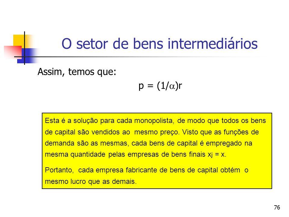 75 O setor de bens intermediários: o problema da empresa max j = p j (x j ) x j - rx j x j p(x) x + p(x) – r = 0 p (x) (x/p) =1 = (r/p) p = r/[(p(x)x/p] =( -1)