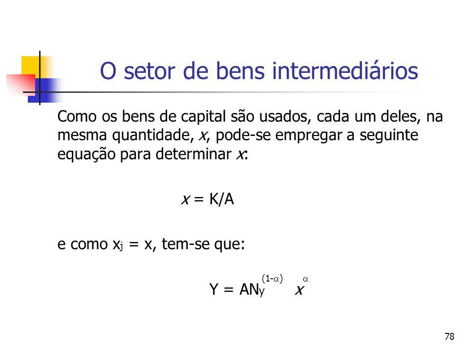 77 O setor de bens intermediários: o lucro das empresas O lucro das empresas intermediária é dado por: A demanda total de capital por parte das empresas de bens de capital intermediários deve ser igual ao estoque de capital das economia: = (1- ) (Y/A) A K = x j d j 0