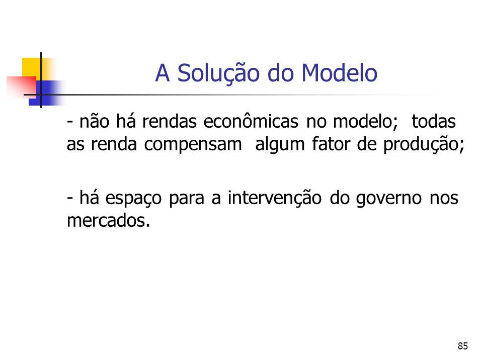 84 A Solução do Modelo - a função de produção agregada apresenta retornos crescentes.
