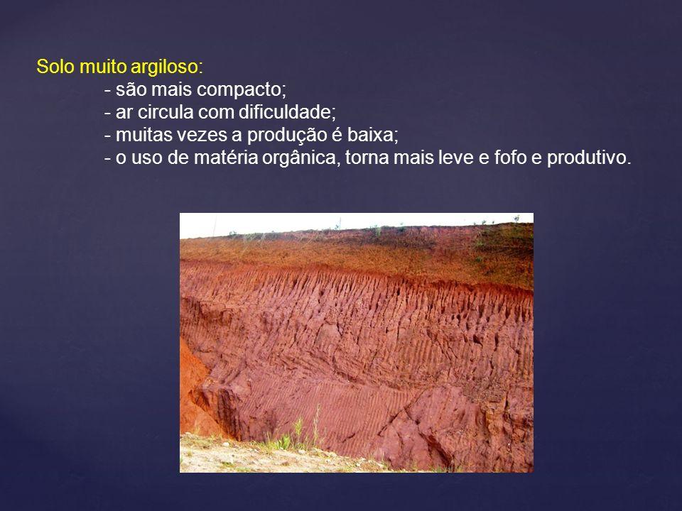 Solo muito argiloso: - são mais compacto; - ar circula com dificuldade; - muitas vezes a produção é baixa; - o uso de matéria orgânica, torna mais lev