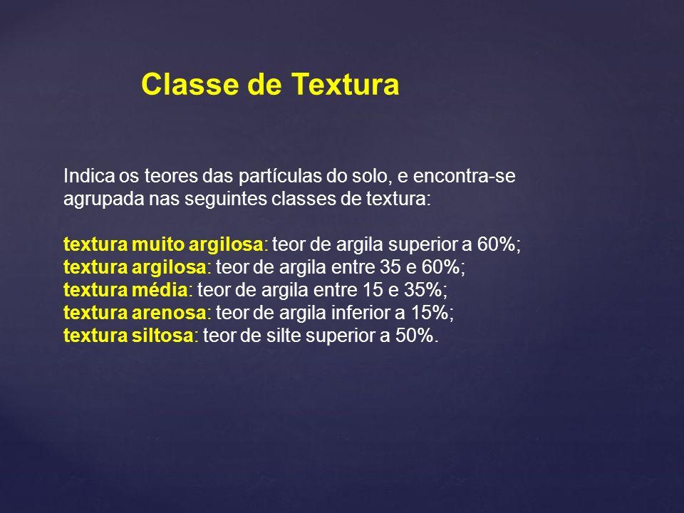 Indica os teores das partículas do solo, e encontra-se agrupada nas seguintes classes de textura: textura muito argilosa: teor de argila superior a 60