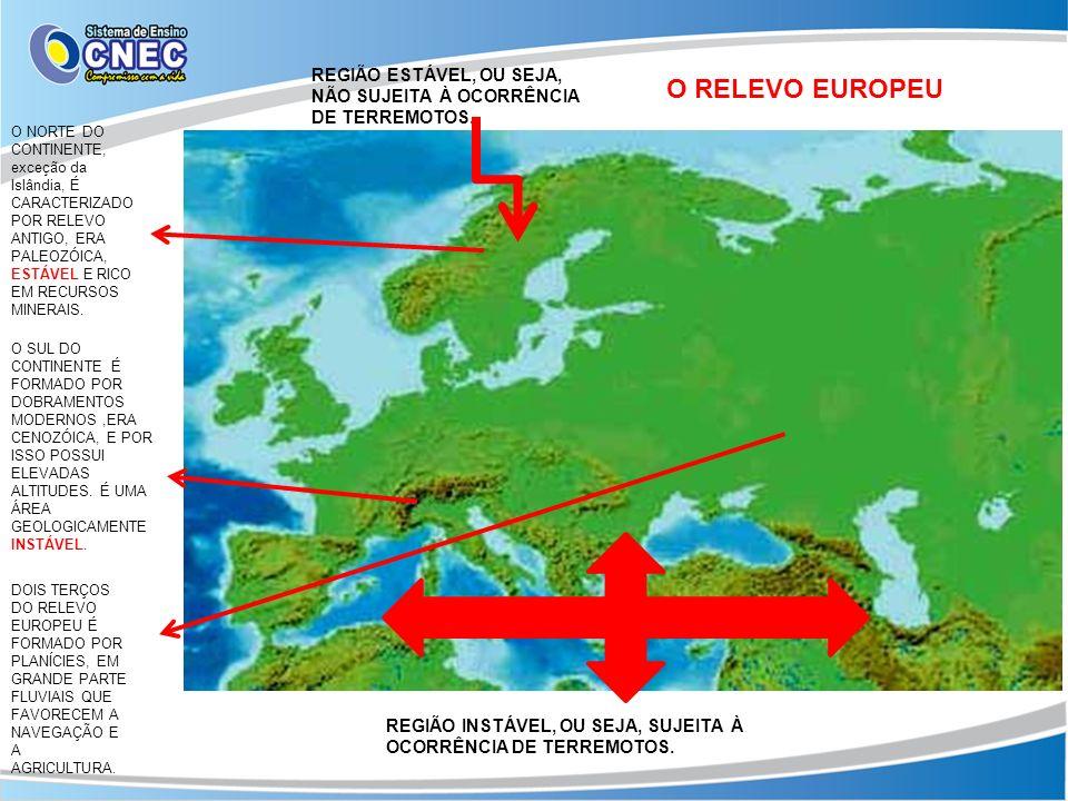 O RELEVO EUROPEU O NORTE DO CONTINENTE, exceção da Islândia, É CARACTERIZADO POR RELEVO ANTIGO, ERA PALEOZÓICA, ESTÁVEL E RICO EM RECURSOS MINERAIS. O