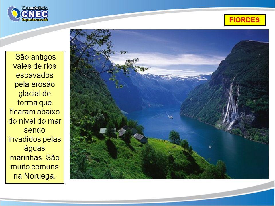 FIORDES São antigos vales de rios escavados pela erosão glacial de forma que ficaram abaixo do nível do mar sendo invadidos pelas águas marinhas. São