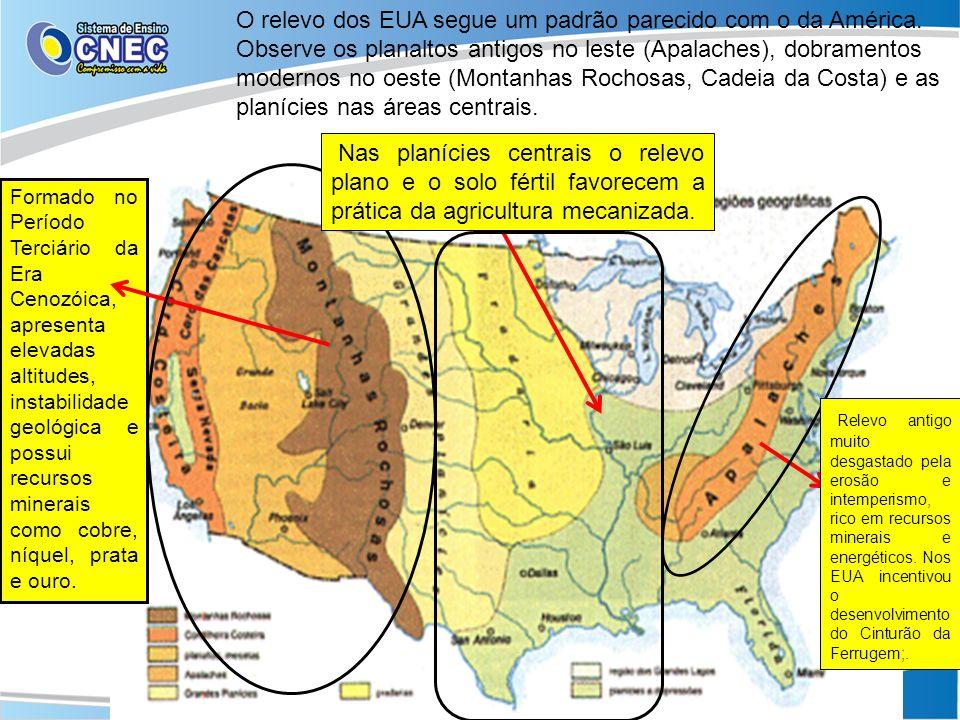 O relevo dos EUA segue um padrão parecido com o da América. Observe os planaltos antigos no leste (Apalaches), dobramentos modernos no oeste (Montanha