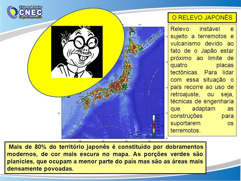 O RELEVO JAPONÊS Mais de 80% do território japonês é constituído por dobramentos modernos, de cor mais escura no mapa. As porções verdes são planícies