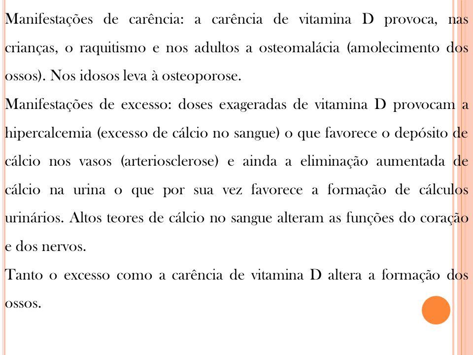 Manifestações de carência: a carência de vitamina D provoca, nas crianças, o raquitismo e nos adultos a osteomalácia (amolecimento dos ossos). Nos ido