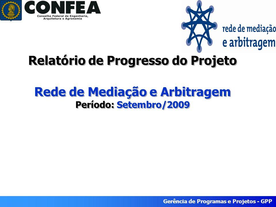 Gerência de Programas e Projetos - GPP Relatório de Progresso do Projeto Rede de Mediação e Arbitragem Período: Setembro/2009