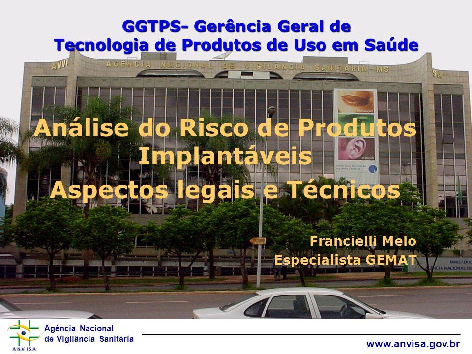 Agência Nacional de Vigilância Sanitária www.anvisa.gov.br GGTPS- Gerência Geral de Tecnologia de Produtos de Uso em Saúde Análise do Risco de Produto