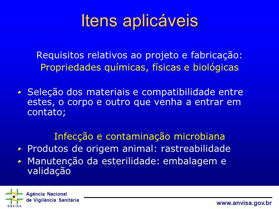 Agência Nacional de Vigilância Sanitária www.anvisa.gov.br Itens aplicáveis Requisitos relativos ao projeto e fabricação: Propriedades químicas, físic