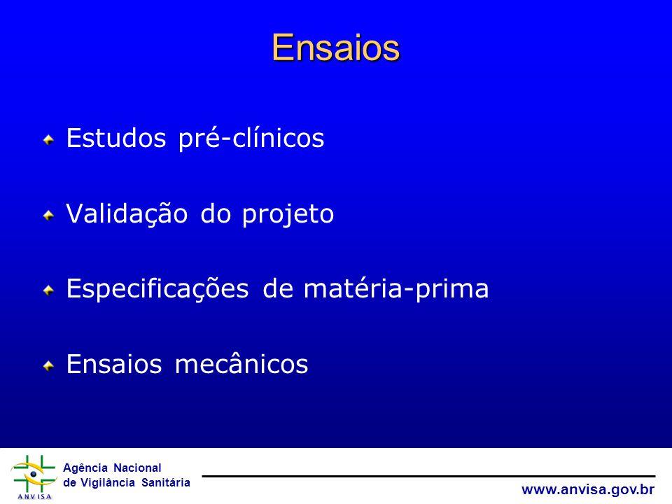 Agência Nacional de Vigilância Sanitária www.anvisa.gov.br Ensaios Estudos pré-clínicos Validação do projeto Especificações de matéria-prima Ensaios m