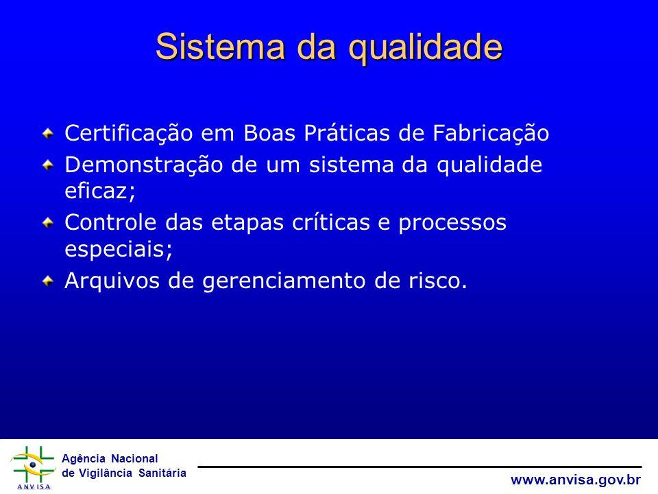 Agência Nacional de Vigilância Sanitária www.anvisa.gov.br Sistema da qualidade Certificação em Boas Práticas de Fabricação Demonstração de um sistema