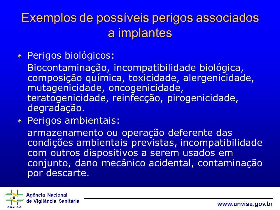 Agência Nacional de Vigilância Sanitária www.anvisa.gov.br Exemplos de possíveis perigos associados a implantes Perigos biológicos: Biocontaminação, i