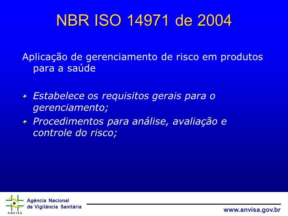 Agência Nacional de Vigilância Sanitária www.anvisa.gov.br NBR ISO 14971 de 2004 Aplicação de gerenciamento de risco em produtos para a saúde Estabele