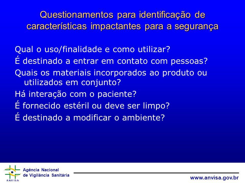 Agência Nacional de Vigilância Sanitária www.anvisa.gov.br Questionamentos para identificação de características impactantes para a segurança Qual o u
