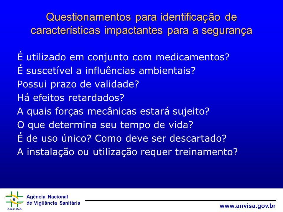 Agência Nacional de Vigilância Sanitária www.anvisa.gov.br Questionamentos para identificação de características impactantes para a segurança É utiliz