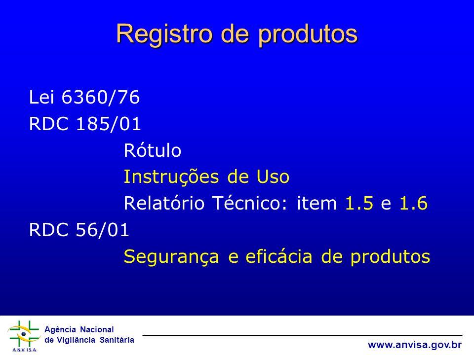 Agência Nacional de Vigilância Sanitária www.anvisa.gov.br Registro de produtos Lei 6360/76 RDC 185/01 Rótulo Instruções de Uso Relatório Técnico: ite