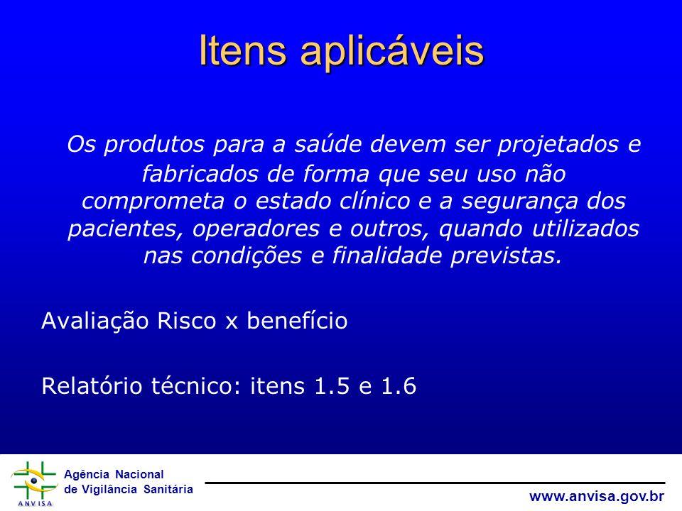Agência Nacional de Vigilância Sanitária www.anvisa.gov.br Itens aplicáveis Os produtos para a saúde devem ser projetados e fabricados de forma que se