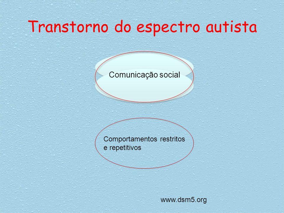 Transtorno do espectro autista Comunicação social Comportamentos restritos e repetitivos www.dsm5.org