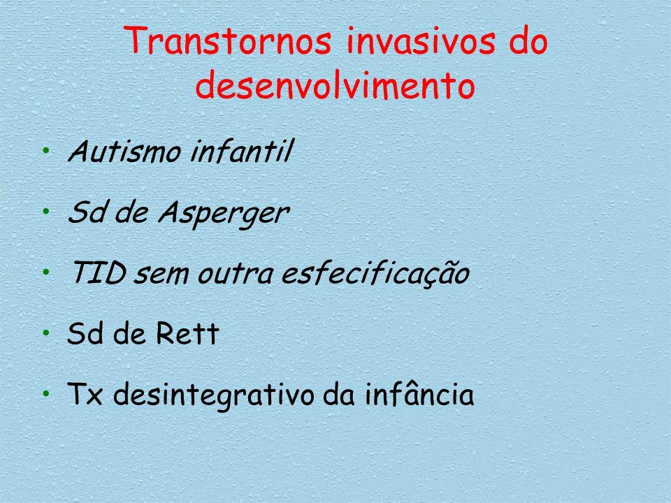 Transtornos invasivos do desenvolvimento Autismo infantil Sd de Asperger TID sem outra esfecificação Sd de Rett Tx desintegrativo da infância