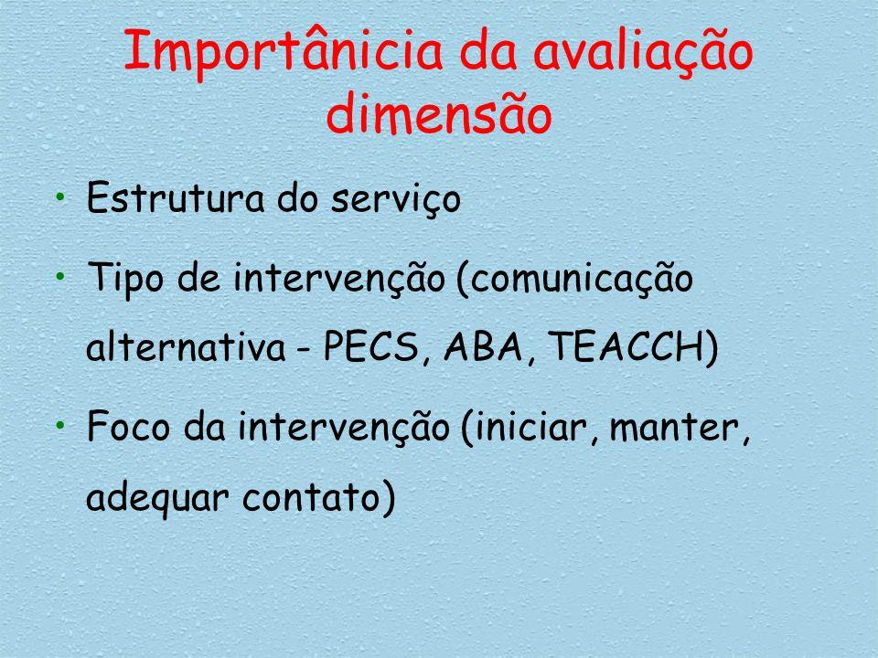 Importânicia da avaliação dimensão Estrutura do serviço Tipo de intervenção (comunicação alternativa - PECS, ABA, TEACCH) Foco da intervenção (iniciar