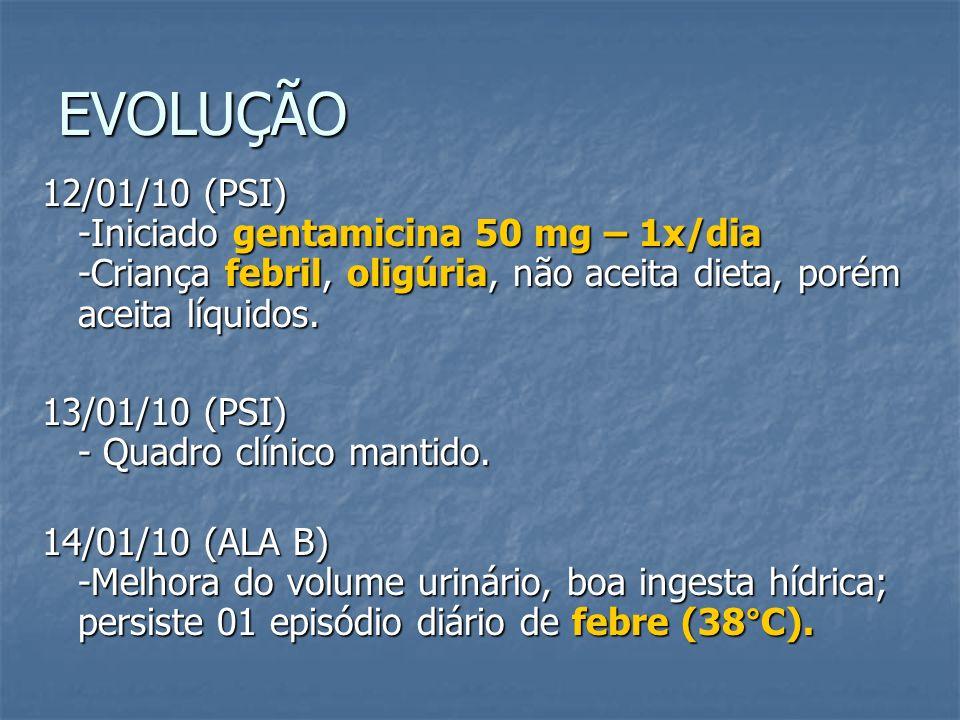 EVOLUÇÃO 12/01/10 (PSI) -Iniciado gentamicina 50 mg – 1x/dia -Criança febril, oligúria, não aceita dieta, porém aceita líquidos. 13/01/10 (PSI) - Quad