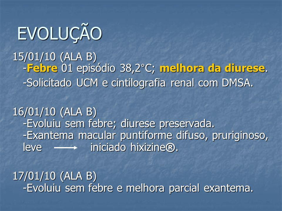 EVOLUÇÃO 15/01/10 (ALA B) -Febre 01 episódio 38,2°C; melhora da diurese. -Solicitado UCM e cintilografia renal com DMSA. 16/01/10 (ALA B) -Evoluiu sem