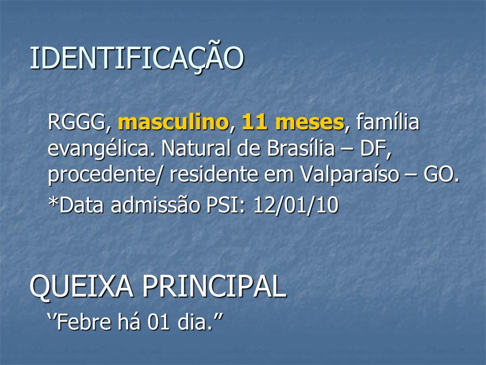 IDENTIFICAÇÃO RGGG, masculino, 11 meses, família evangélica. Natural de Brasília – DF, procedente/ residente em Valparaíso – GO. *Data admissão PSI: 1