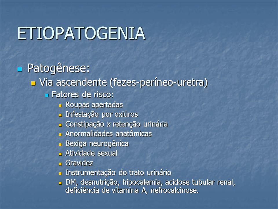 ETIOPATOGENIA Patogênese: Patogênese: Via ascendente (fezes-períneo-uretra) Via ascendente (fezes-períneo-uretra) Fatores de risco: Fatores de risco: