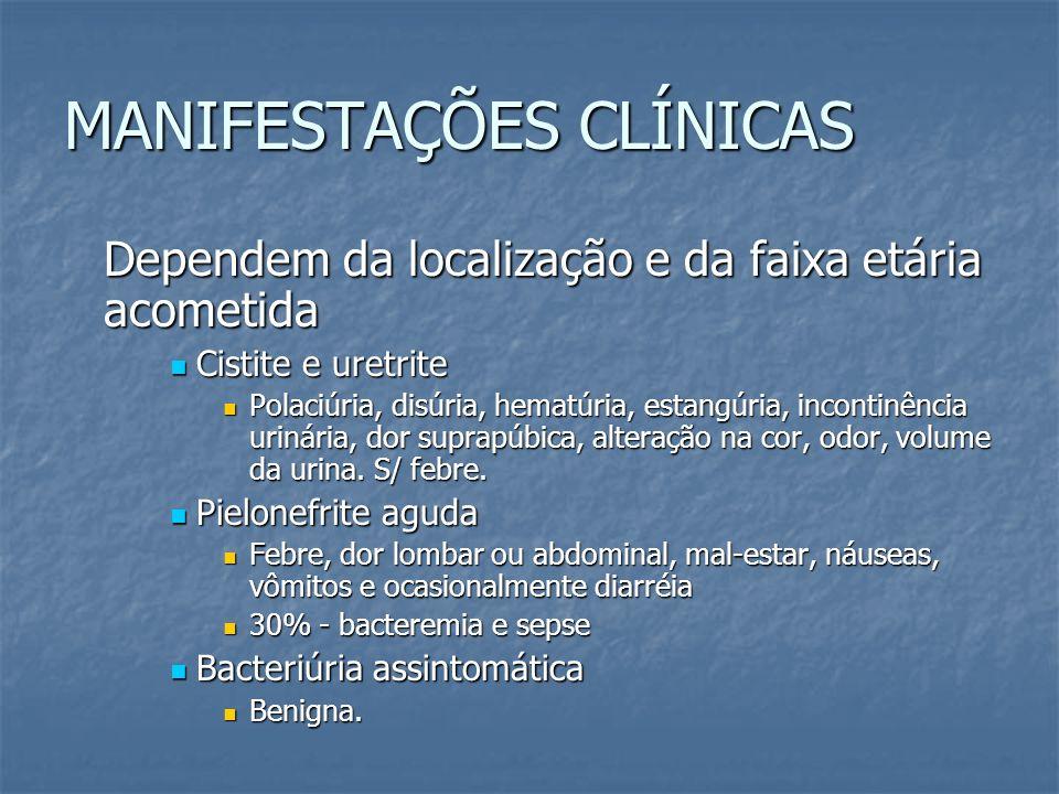 MANIFESTAÇÕES CLÍNICAS Dependem da localização e da faixa etária acometida Cistite e uretrite Cistite e uretrite Polaciúria, disúria, hematúria, estan