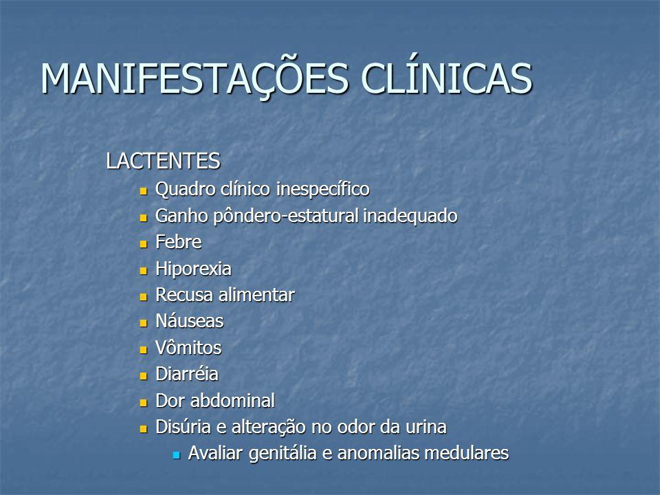 MANIFESTAÇÕES CLÍNICAS LACTENTES Quadro clínico inespecífico Quadro clínico inespecífico Ganho pôndero-estatural inadequado Ganho pôndero-estatural in