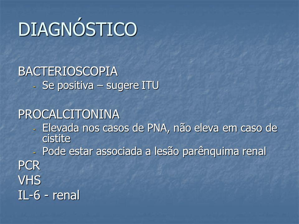 DIAGNÓSTICO BACTERIOSCOPIA - Se positiva – sugere ITU PROCALCITONINA - Elevada nos casos de PNA, não eleva em caso de cistite - Pode estar associada a