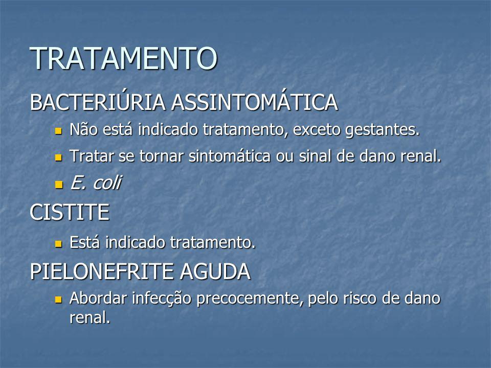 TRATAMENTO BACTERIÚRIA ASSINTOMÁTICA Não está indicado tratamento, exceto gestantes. Não está indicado tratamento, exceto gestantes. Tratar se tornar