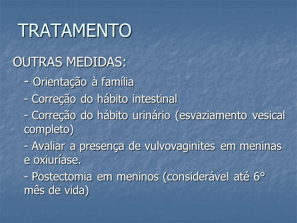 TRATAMENTO OUTRAS MEDIDAS: - Orientação à família - Correção do hábito intestinal - Correção do hábito urinário (esvaziamento vesical completo) - Aval